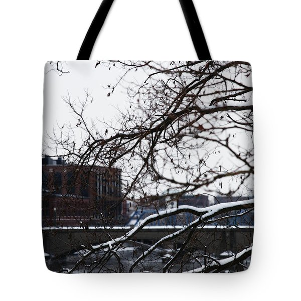 The River Divide Tote Bag by Linda Shafer