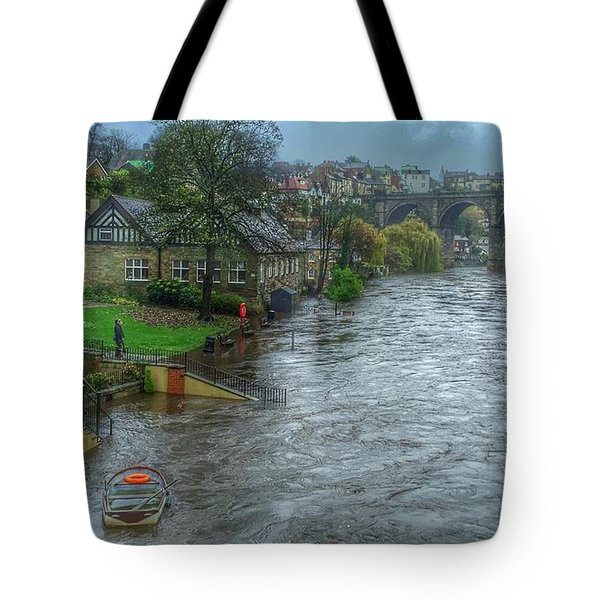 The River Nidd In Flood At Knaresborough Tote Bag