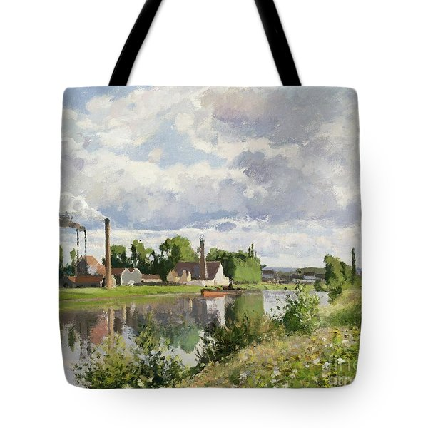 The River Oise Near Pontoise Tote Bag by Camille Pissarro