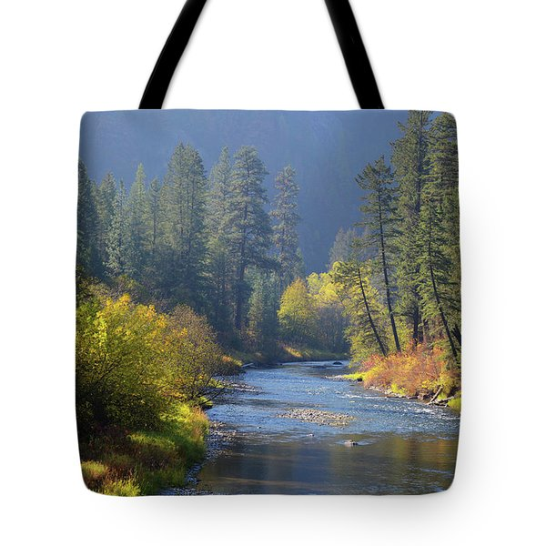 The River Runs Through Autumn Tote Bag