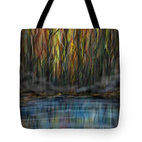Tote Bag featuring the digital art The River Side by Darren Cannell