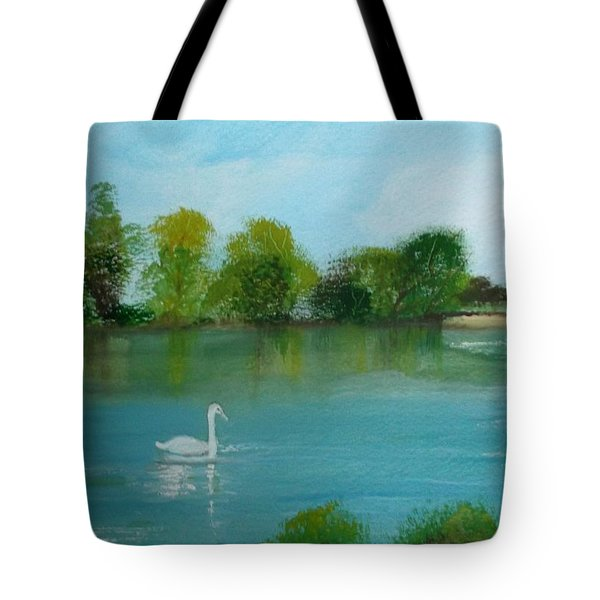 The River Thames At Shepperton Tote Bag