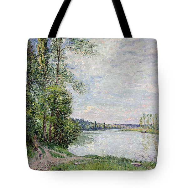 The Riverside Road From Veneux To Thomery Tote Bag by Alfred Sisley