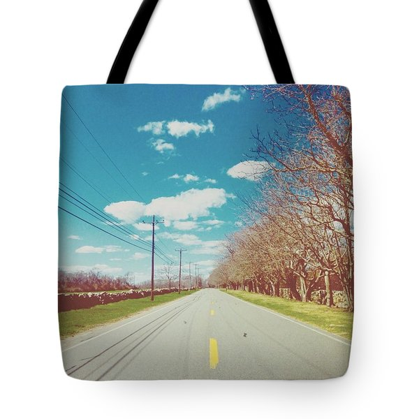 The Road Between Nature And Technology Tote Bag