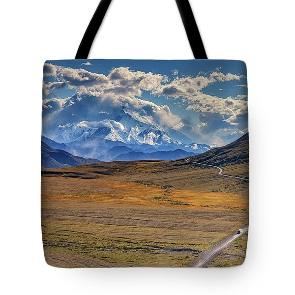 The Road To Denali Tote Bag