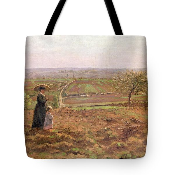 The Road To Rouen Tote Bag by Camille Pissarro