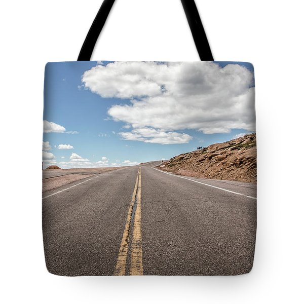 The Road Up Pikes Peak At Around 12,000 Feet Tote Bag by Peter Ciro