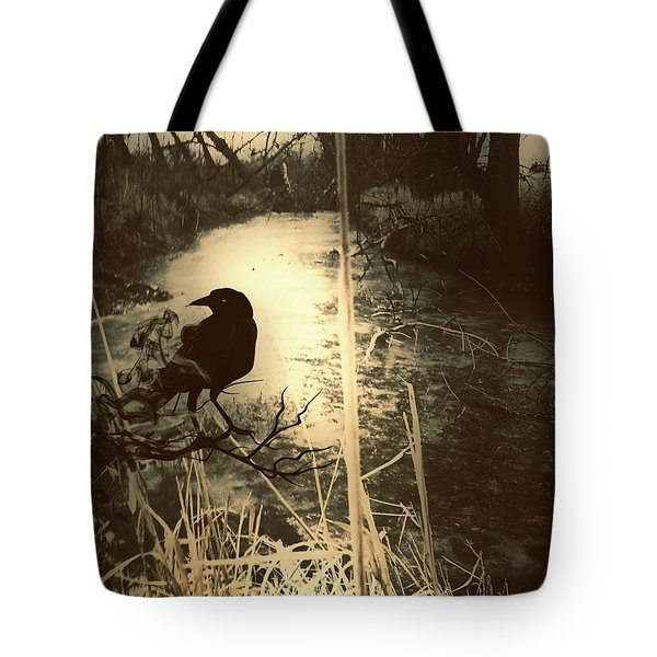 The Robin And The Wren Are Flown. Winter Crow Tote Bag