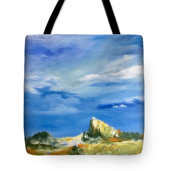 Tote Bag featuring the painting The Rock by Ellen Canfield