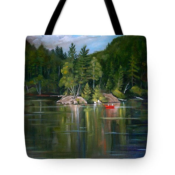 The Rock On Mirror In Woodstock New Hampshire Tote Bag