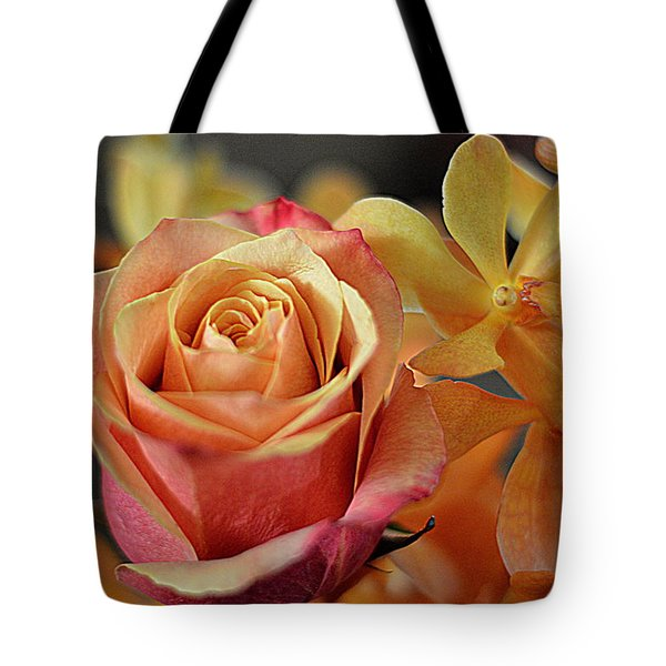 Tote Bag featuring the photograph The Rose And The Orchid by Diana Mary Sharpton