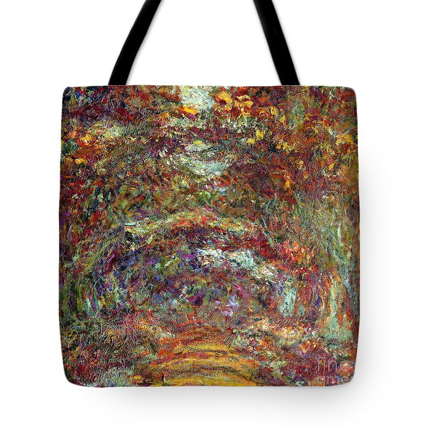 The Rose Path Giverny Tote Bag by Claude Monet