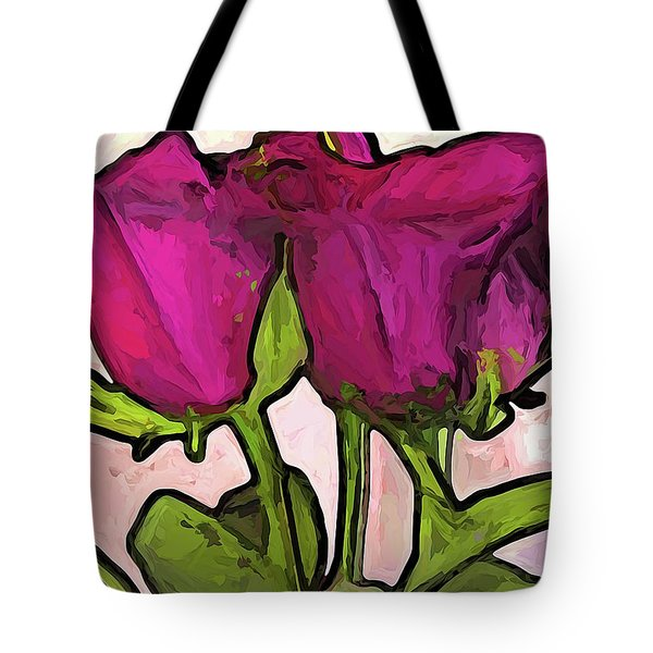 The Roses With The Green Stems And Leaves Tote Bag