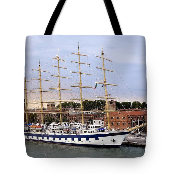The Royal Clipper Docked In Venice Italy Tote Bag