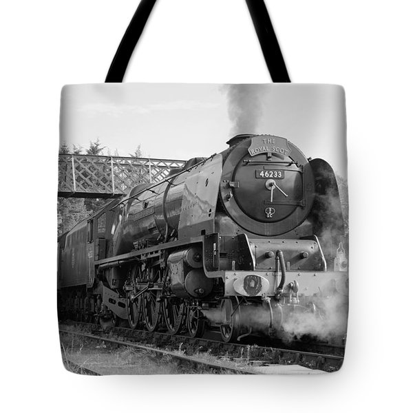 Tote Bag featuring the photograph The Royal Scot In Black And White by David Birchall