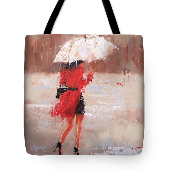 Tote Bag featuring the painting The Rush by Laura Lee Zanghetti