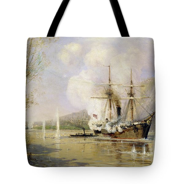 The Russian Destroyer Shutka Attacking A Turkish Ship On The 16th June 1877 Tote Bag by Aleksei Petrovich Bogolyubov