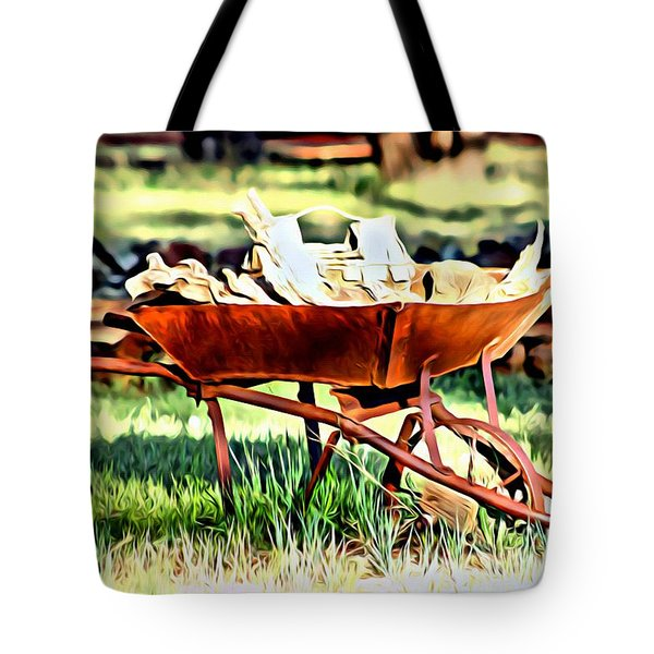 Tote Bag featuring the photograph The Rusted Wheelbarrow by Beauty For God