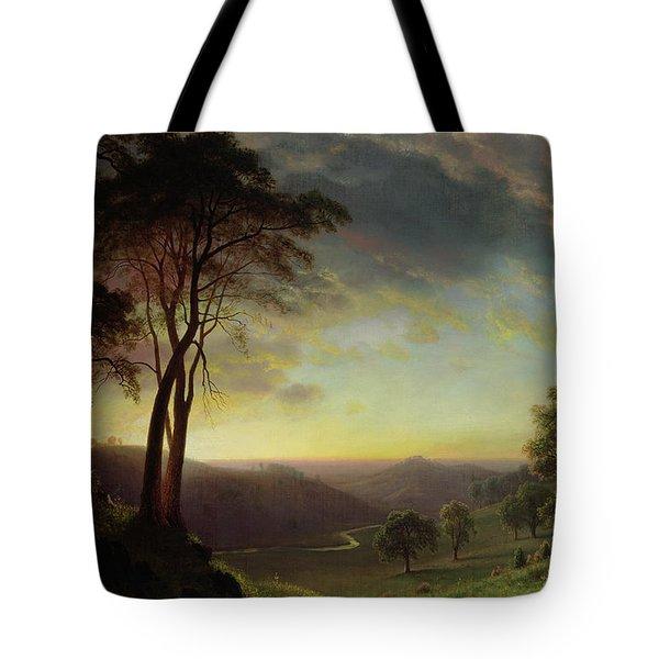 The Sacramento River Valley  Tote Bag by Albert Bierstadt
