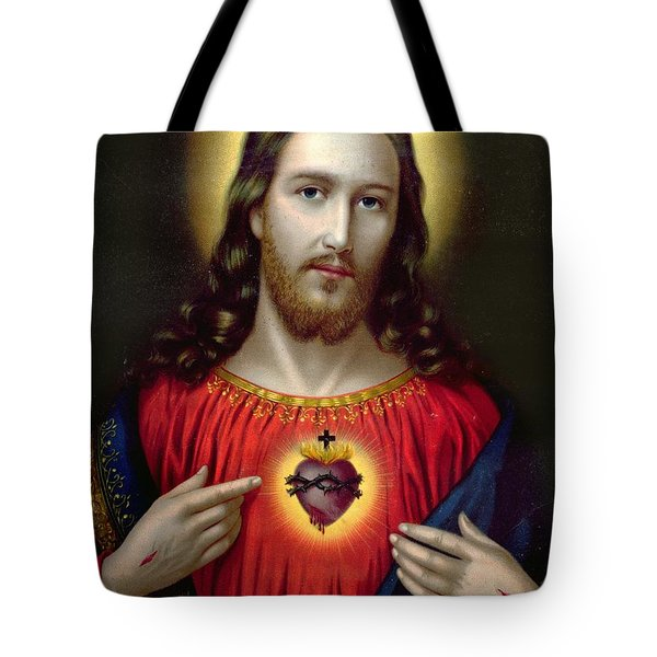 The Sacred Heart Of Jesus Tote Bag by English School