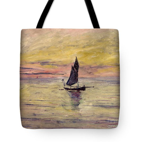 The Sailing Boat Evening Effect Tote Bag by Claude Monet
