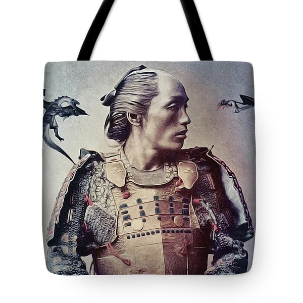 The Samurai And The Dragons Tote Bag