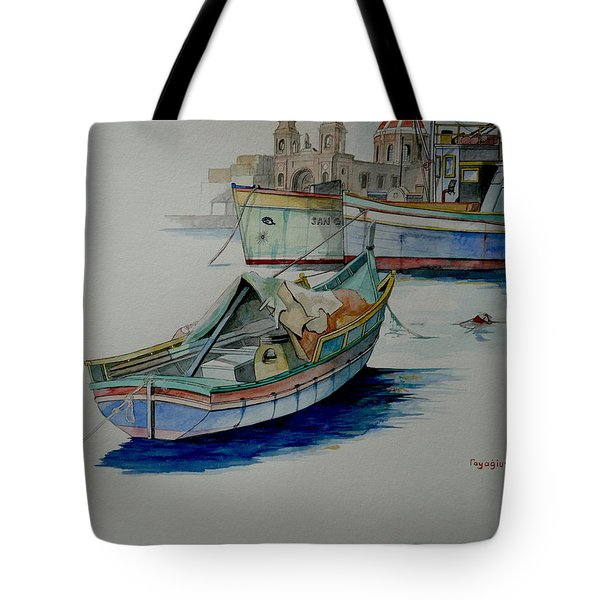 Tote Bag featuring the painting The San George by Ray Agius