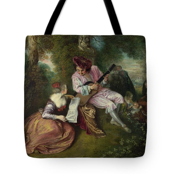 The Scale Of Love Tote Bag by Jean-Antoine Watteau