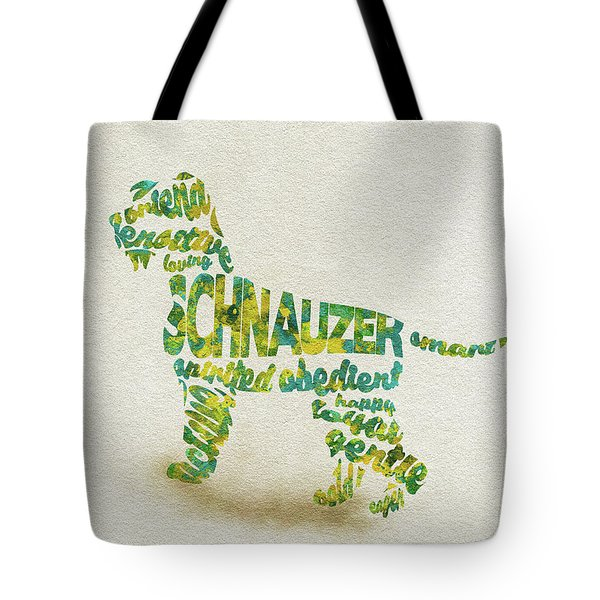 Tote Bag featuring the painting The Schnauzer Dog Watercolor Painting / Typographic Art by Inspirowl Design