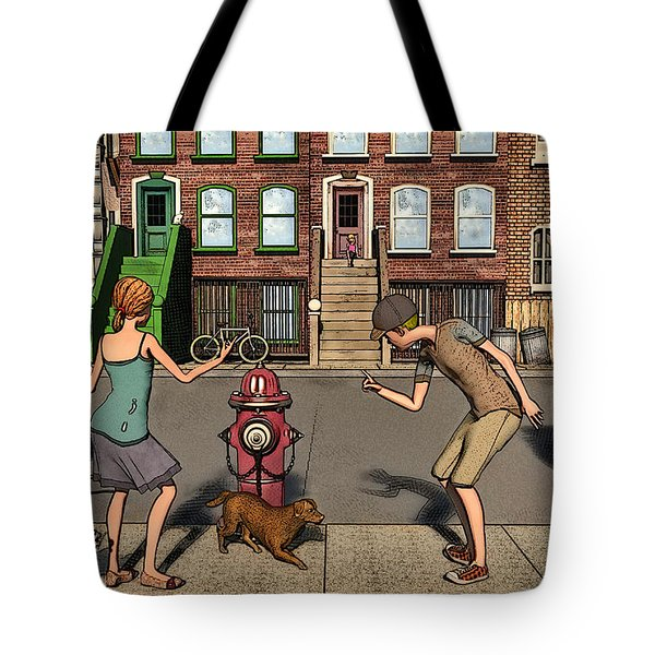 The Scolding Or  Aka When A Dog's Gotta Go Tote Bag