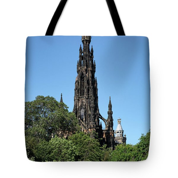 Tote Bag featuring the photograph The Scott Monument In Edinburgh, Scotland by Jeremy Lavender Photography