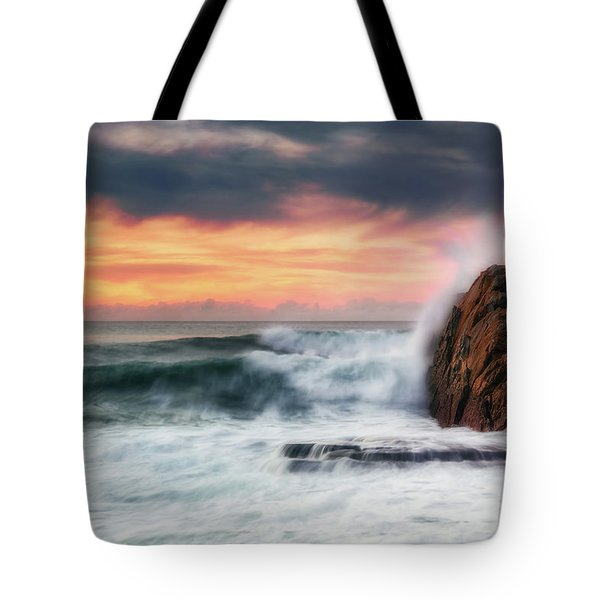 The Sea Against The Rock Tote Bag