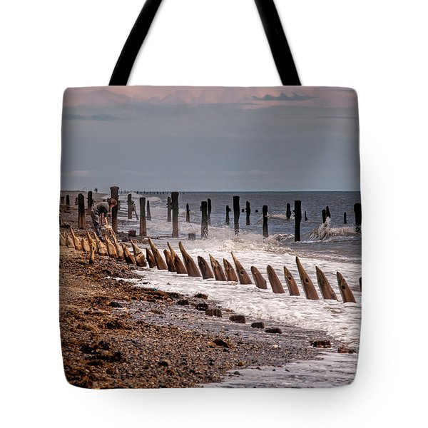 The Sea And Groynes Tote Bag by David  Hollingworth