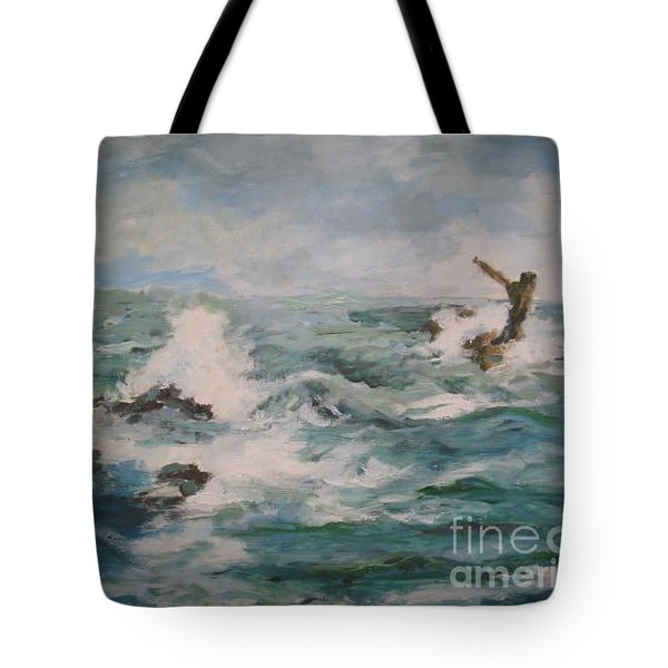 Tote Bag featuring the painting The Sea by Rushan Ruzaick