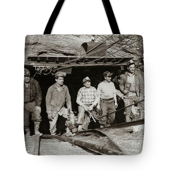 The Search And Retrieval Team After The Knox Mine Disaster Port Griffith Pa 1959 At Mine Entrance Tote Bag