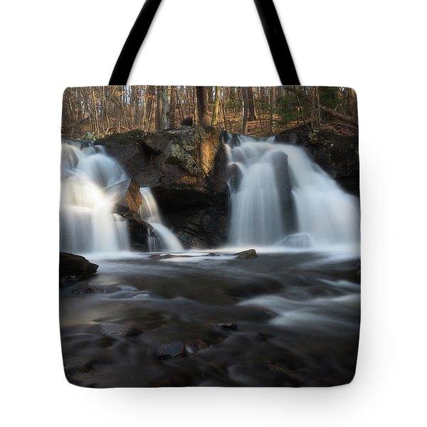 The Secret Waterfall In Golden Light Tote Bag