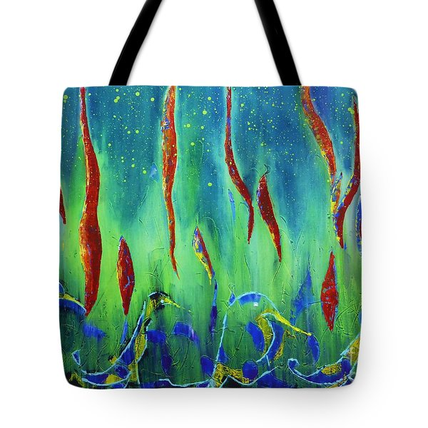 Tote Bag featuring the painting The Secret World Of Water And Fire by AmaS Art