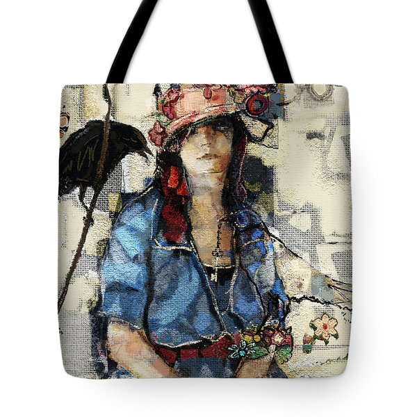 Tote Bag featuring the mixed media The Seer by Carrie Joy Byrnes