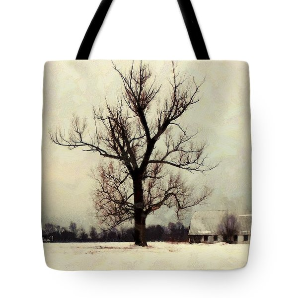 Tote Bag featuring the photograph The Sentinel - Lone Winter Tree by Janine Riley