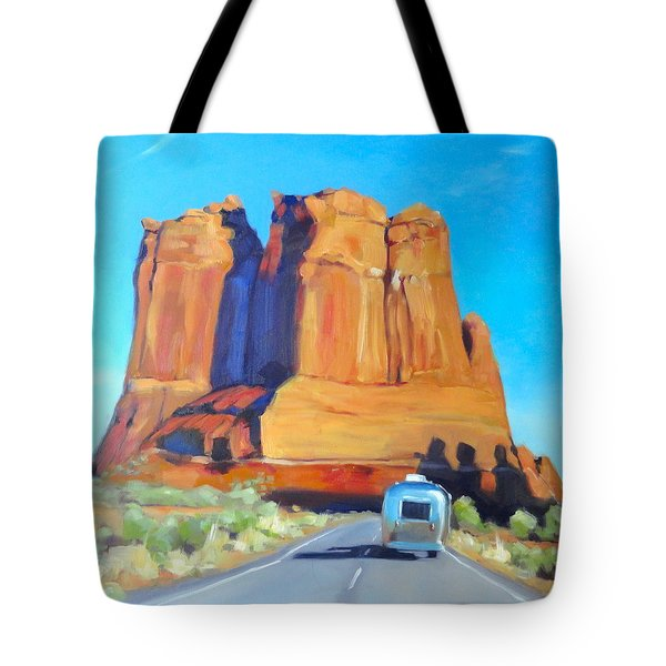 The Shadow Of The Three Gossips Arches Utah Tote Bag