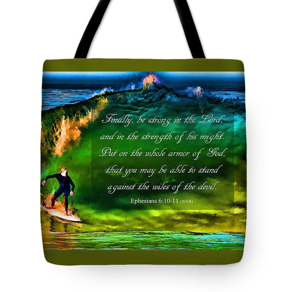 Tote Bag featuring the photograph The Shadow Within With Bible Verse by John A Rodriguez