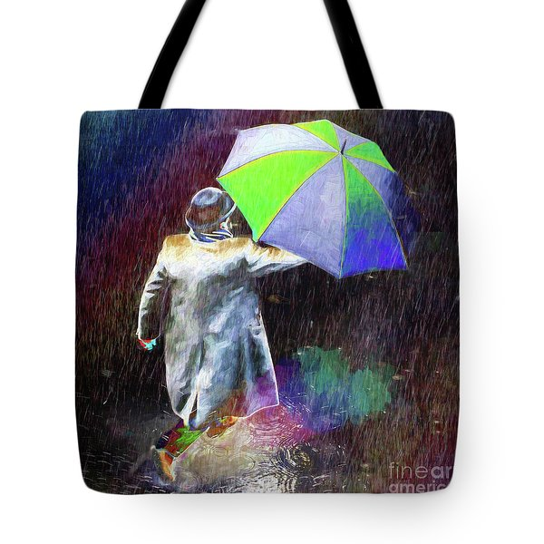 Tote Bag featuring the photograph The Sheer Joy Of Puddles by LemonArt Photography