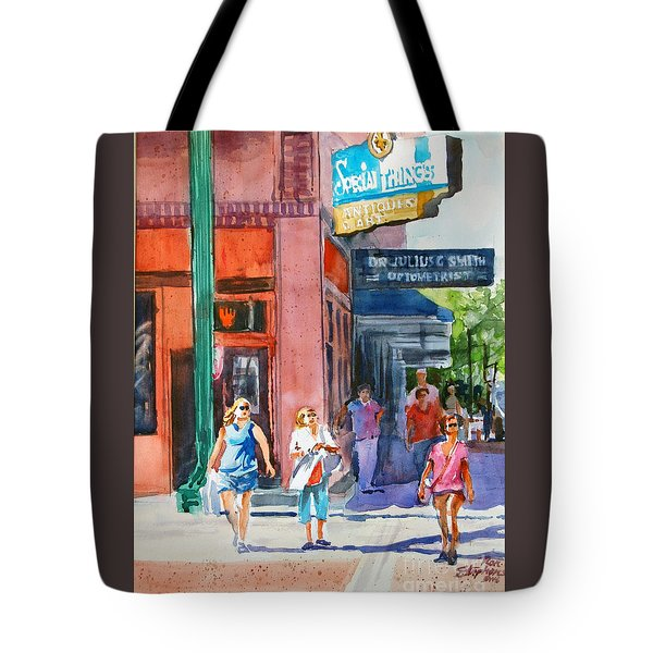 Tote Bag featuring the painting The Shoppers by Ron Stephens
