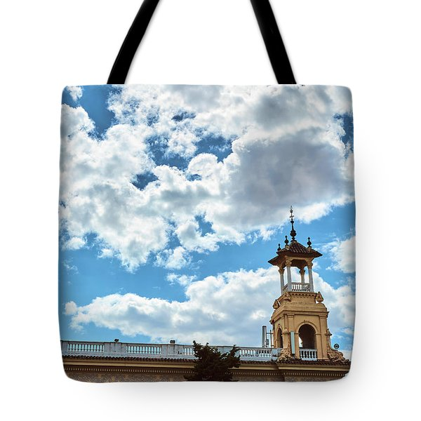 Tote Bag featuring the photograph The Sky Above The Towers Of Montjuic by Eduardo Jose Accorinti