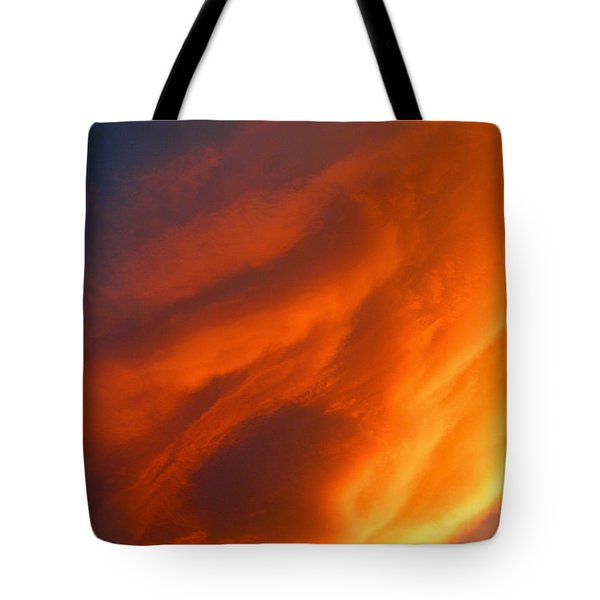 The Sky Is Burning Tote Bag