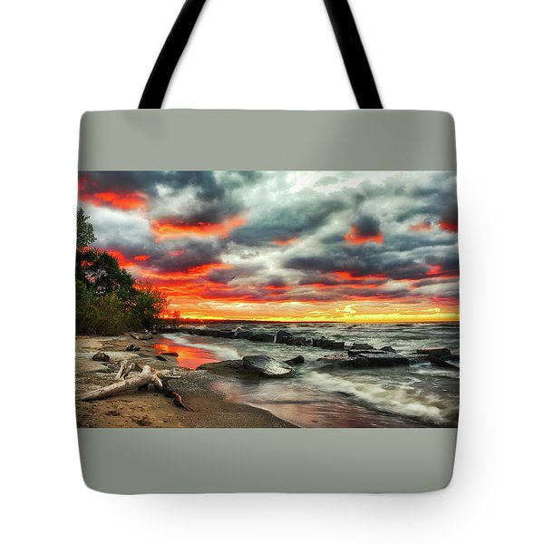 The Sky On Fire At Sunset On Lake Erie Tote Bag