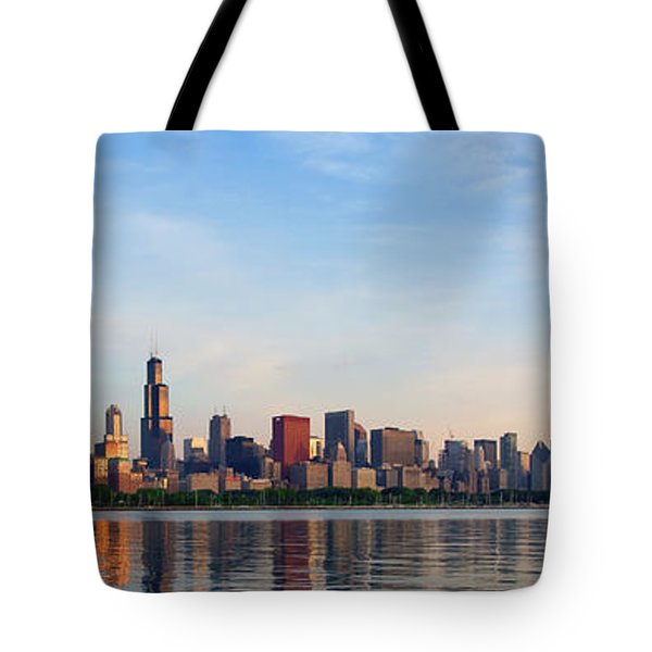 The Skyline Of Chicago At Sunrise Tote Bag