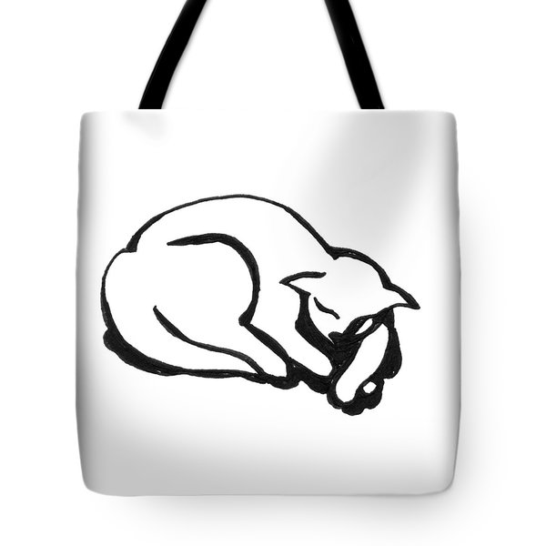 Tote Bag featuring the drawing The Sleeping Cat by Keith A Link