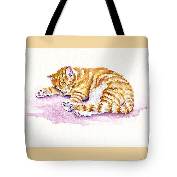 The Sleepy Kitten Tote Bag