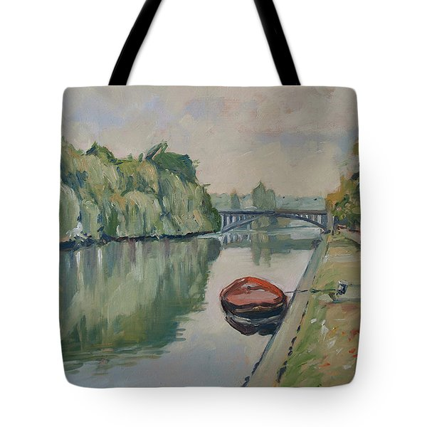 The Small Boat Along The Quai Of Halage Vise Tote Bag